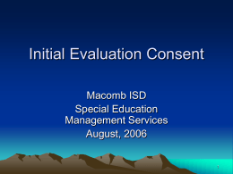 Initial Evaluation Consent - MISD