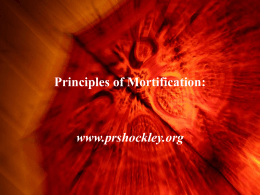 Spiritual Principles of Mortification: