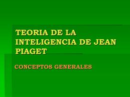 TEORIA DE LA INTELIGENCIA DE JEAN PIAGET