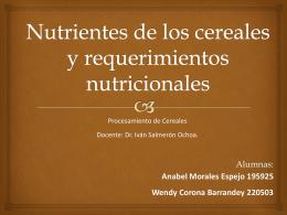 Nutrientes de los cereales y requerimientos nutricionales