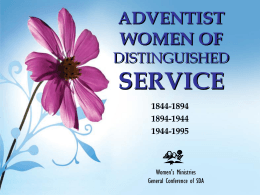 ADVENTIST WOMEN OF DISTINGUISH SERVICE