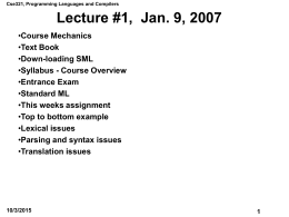 Lecture #1, Sept. 30, 1996 - TheCAT