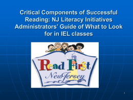 READ FIRST, NEW JERSEY - The Official Web Site for The