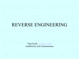 Reverse engineering OO software
