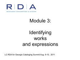 PowerPoint Presentation - RDA Test at LC Module 3: …