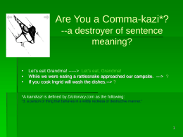 Commas I PPt - University of West Florida