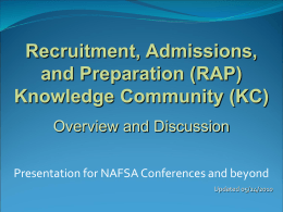 Recruitment, Admission and Preparation Knowledge …