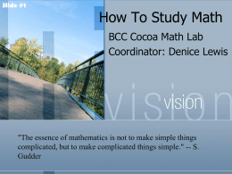 How To Study Math - Eastern Florida State College
