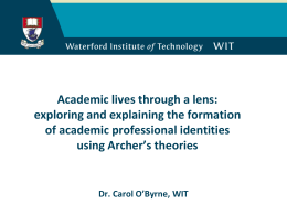 Academic lives through a lens: exploring and explaining