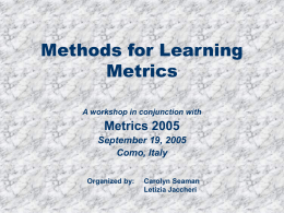 Methods for Learning Metrics