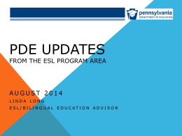 2014-15 PDE Updates - Multiple Cultures, Multiple Voices