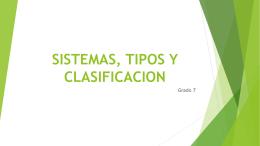 SISTEMAS, TIPOS Y CLASIFICACION