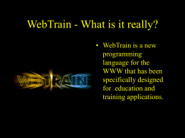 WebTrain - What is it really?