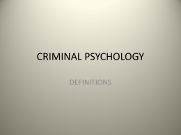 CRIMINAL PSYCHOLOGY - Rajasthan Prisons, Department …