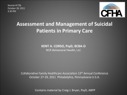 Why Manage Suicide in Primary Care?