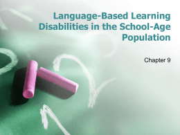 Language-Based Learning Disabilities in the School