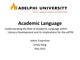 Academic Language Webinar - PowerPoint slides