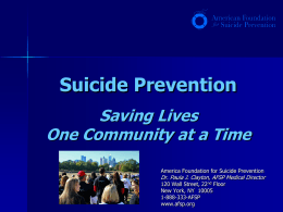 Suicide Prevention: Saving Lives One Community at a Time