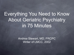 REVIEW OF PSYCHIATRY Geriatrics