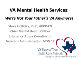 VA Mental Health Services - Texas Corrections Association