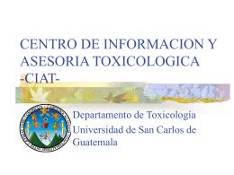 CENTRO DE INFORMACION Y ASESORIA TOXICOLOGICA  …