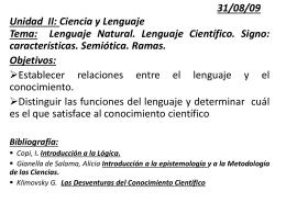 Unidad II: Ciencia y Lenguaje