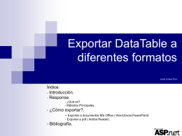Exportar DataTable a diferentes formatos