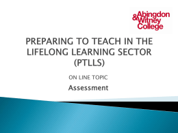 PREPARING TO TEACH IN THE LIFELONG LEARNING …