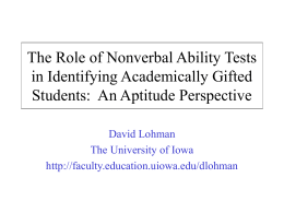 The Role of Nonverbal Ability Tests in Identifying