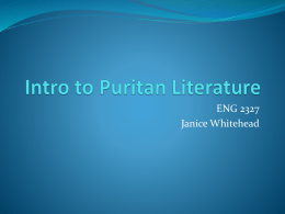 Intro to Puritan Literature
