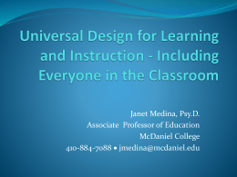 Universal Design for Learning and Instruction