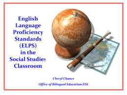 Implementing the English Language Proficiency Standards