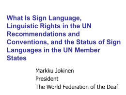 Linguistic Rights in the UN Recommendations and