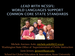 Lead with NCSSFL: World Languages Support Common …