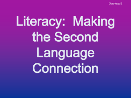 English As a Second Language and English Literacy …