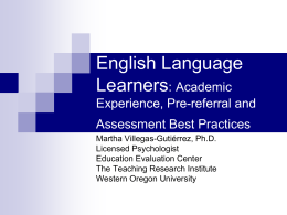 English Language Learners: Pre