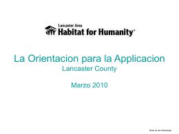 La Orientacion para la Applicacion Lancaster County