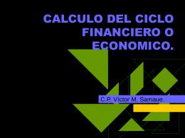 CALCULO DEL CICLO FINANCIERO O ECONOMICO.