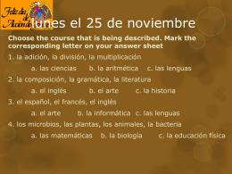 lunes el 25 de noviembre