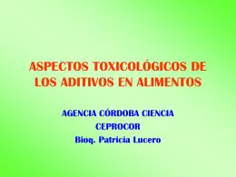 ASPECTOS TOXICOLOGICOS DE LOS ADITIVOS EN …