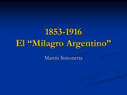 """1853-1916 El """"Milagro Argentino"""""""