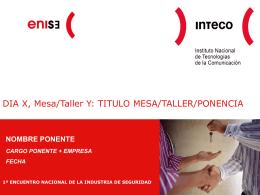 DIA X, Mesa/Taller Y: TITULO MESA/TALLER/PONENCIA