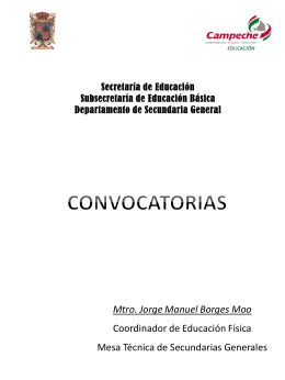 Mtro. Jorge Manuel Borges Moo Coordinador de …