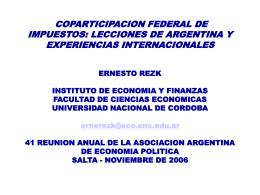 COPARTICIPACION FEDERAL DE IMPUESTOS: LECCIONES …