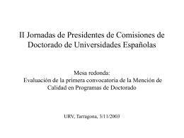 II Jornadas de Presidentes de Comisiones de Doctorado …