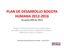 PLAN DE DESARROLLO BOGOTA HUMANA 2012-2016