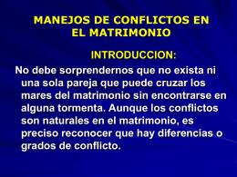 MANEJOS DE CONFLICTOS EN EL MATRIMONIO.