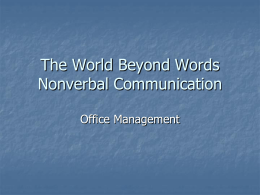 The World Beyond Words Nonverbal Communication