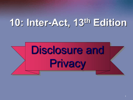 Self-Disclosure and Privacy