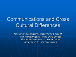 Communications and Cross Cultural Differences